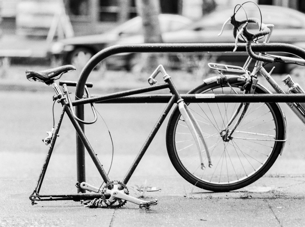 Pioneer Square : bike without tires on black and white film