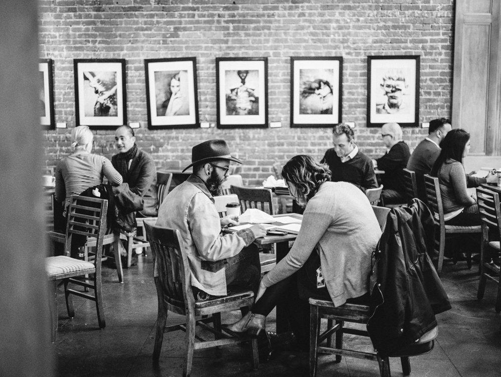Pioneer Square : Zeitgeist Coffee shop black and white film photo