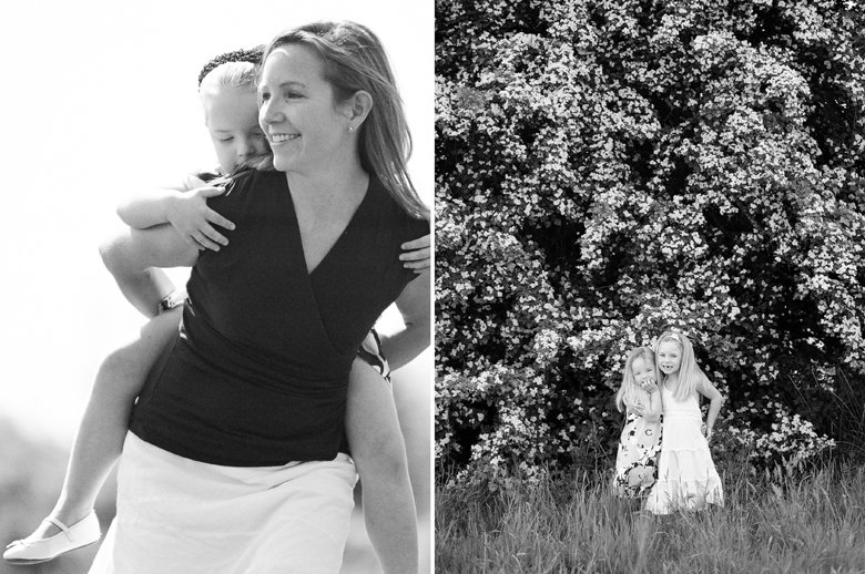 Seattle family photo session : mom smiling while daughter riding piggyback