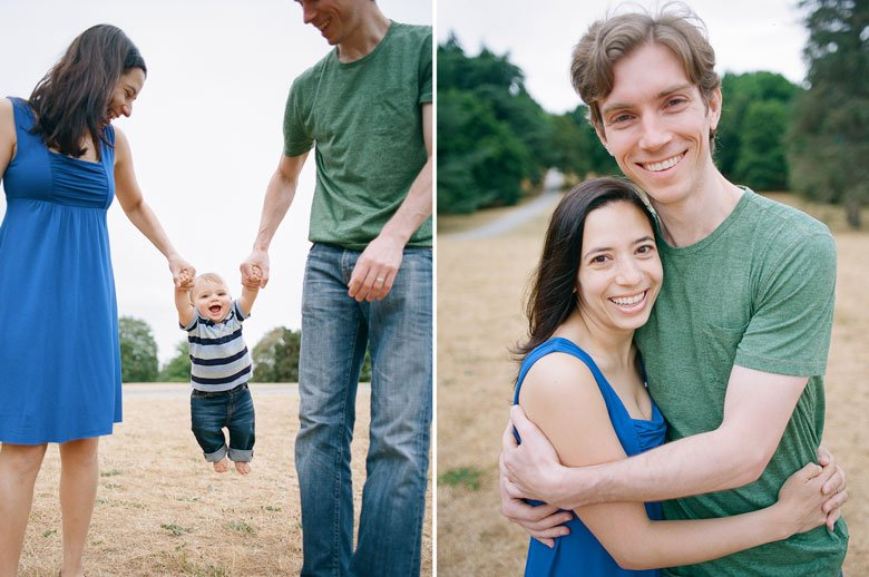 Seattle baby photography : mom and dad swinging baby boy in field