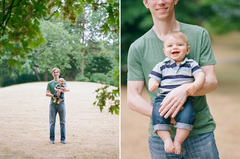 Seattle baby photography : dad holding 6 month old boy in park