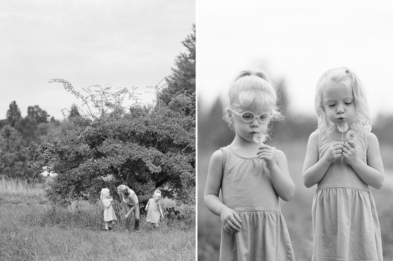 Laurelhurst family photographer : black_and_white_twins_dandelions_web