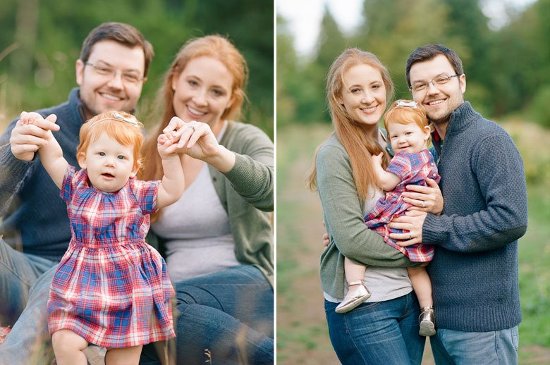 family photographer northeast Seattle : family of three smiling at camera