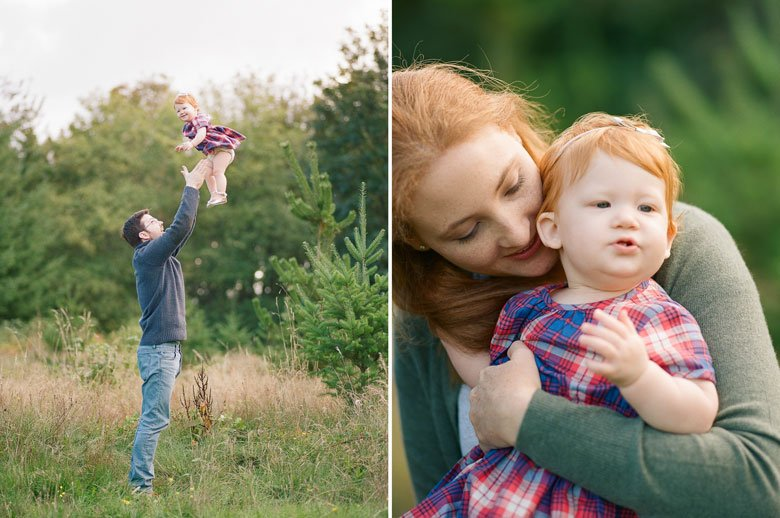 family photographer northeast Seattle : dad throwing toddler girl in air