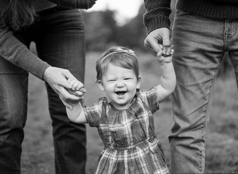 family photographer northeast Seattle : toddler holding parents hands and laughing at camera