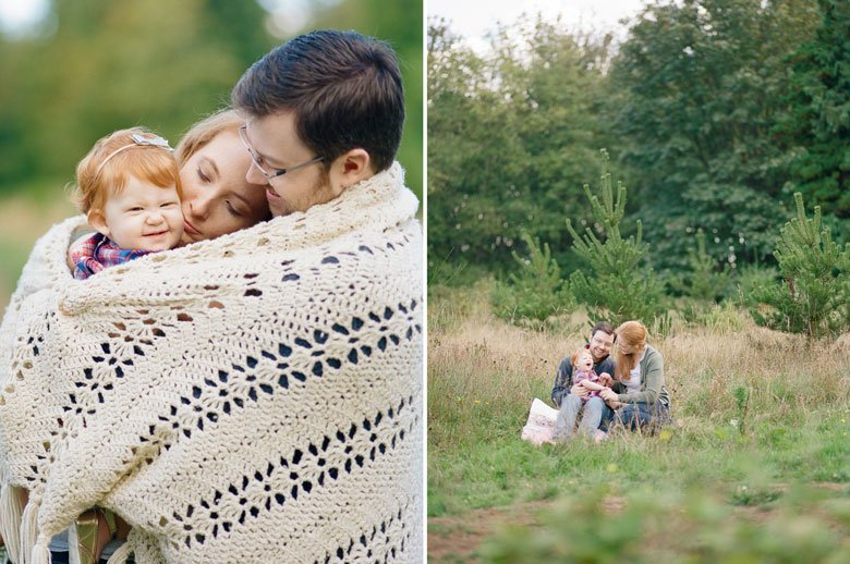 family photographer northeast Seattle : family snuggled in blanket in park