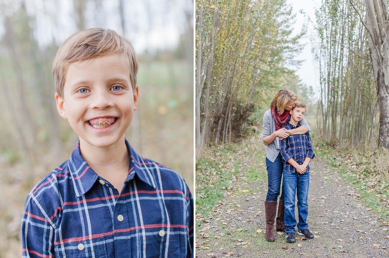 family photography with dogs Seattle : tween boy smiling at camera