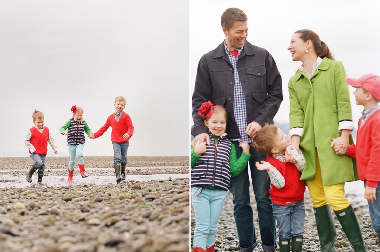 family photographer north seattle : kids running towards camera on rocky beach