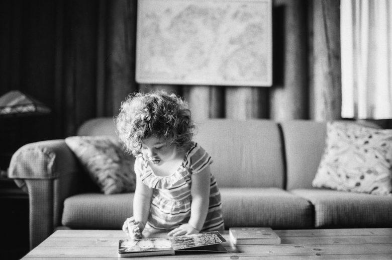 black and white film photo of little girl