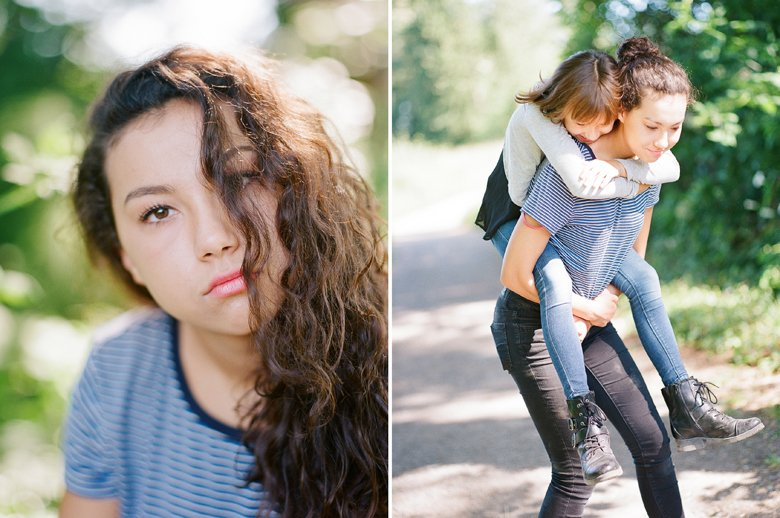 view ridge family photography : teenager head shot and a piggy back ride with sister