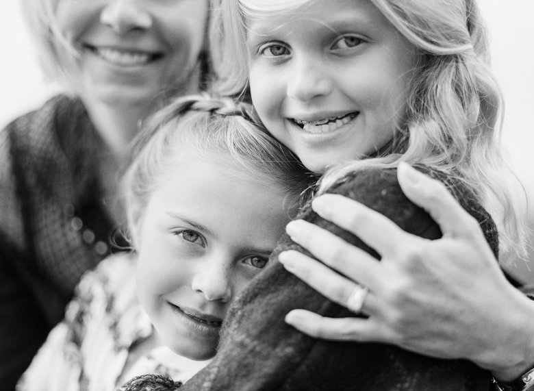 best family photographer seattle | sisters in black and white close up