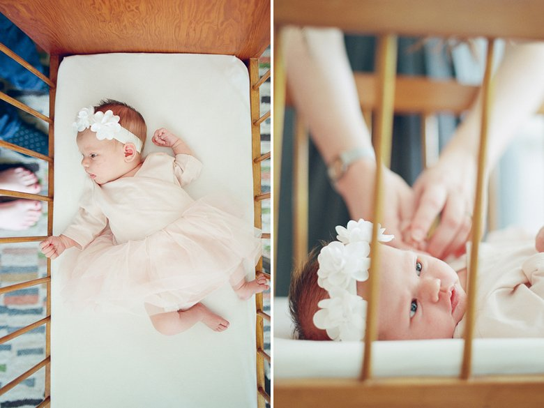 north seattle newborn photography in home session : baby in vintage bassinet