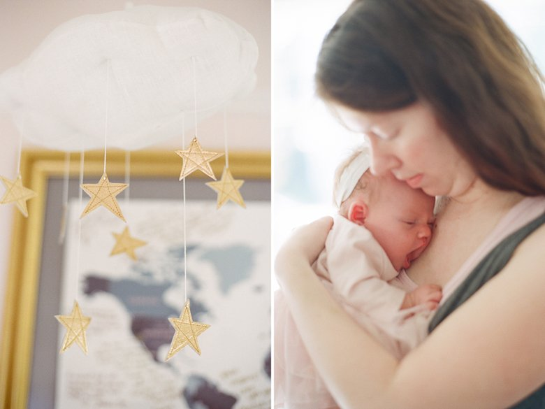 north seattle newborn photography in home session : mom cuddling yawning baby