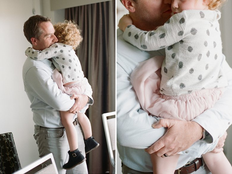 seattle indoor family session : toddler and dad hugging