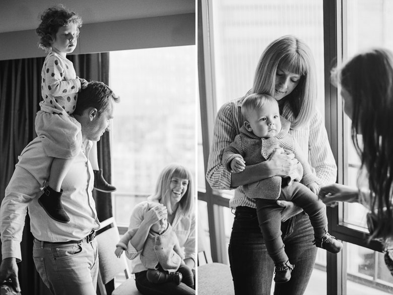 seattle indoor family session : bw family photo