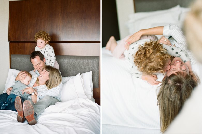 seattle indoor family session : cuddling on bed
