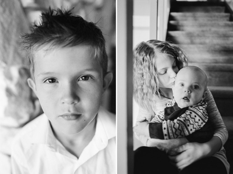 in home candid family photo session | boy headshot