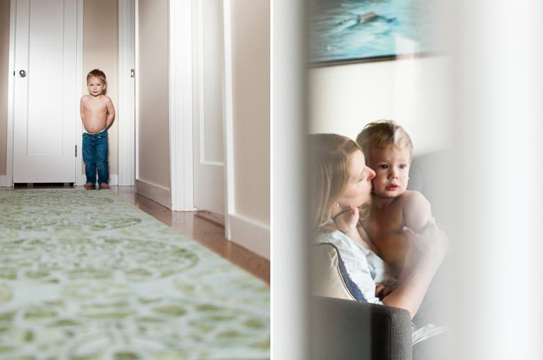 in-home family photos Seattle WA : mom kissing toddler