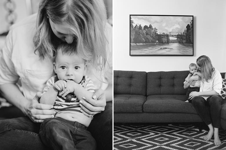 in-home family photos Seattle WA : mom kissing baby boy in living room