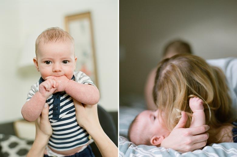 in-home family photos Seattle WA : mom cuddling baby boy