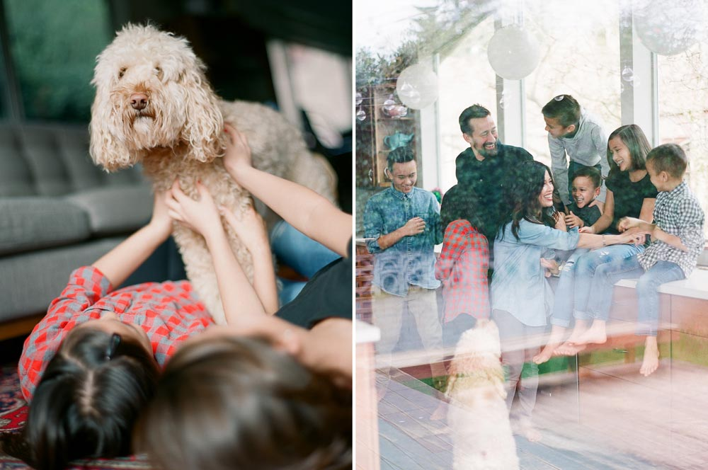 Seattle in home family photography : girls petting dog who is looking at camera