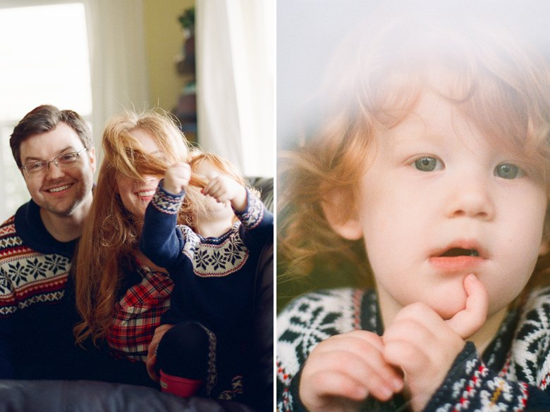 child photography Seattle : red head toddler shows serious side for camera