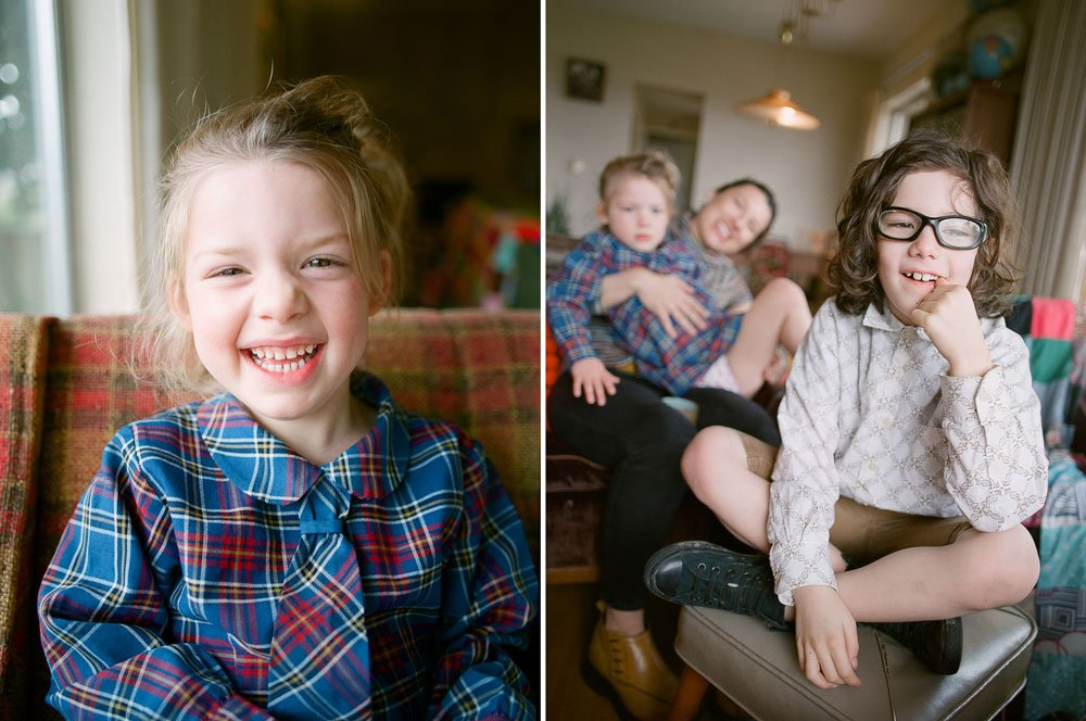 in home family photography seattle : girl smiling at camera