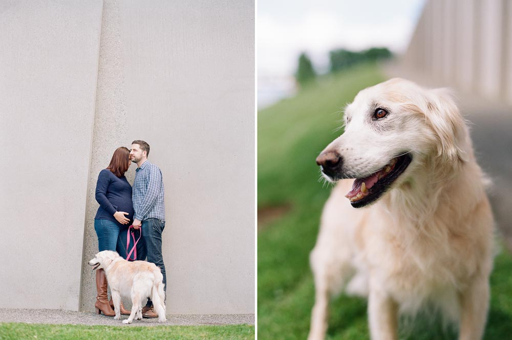 seattle maternity photographer : couple hanging out at Olympic Sculpture Park with dog