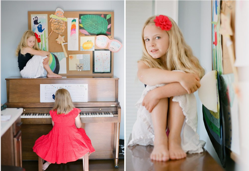 family photographers seattle : sister playing piano