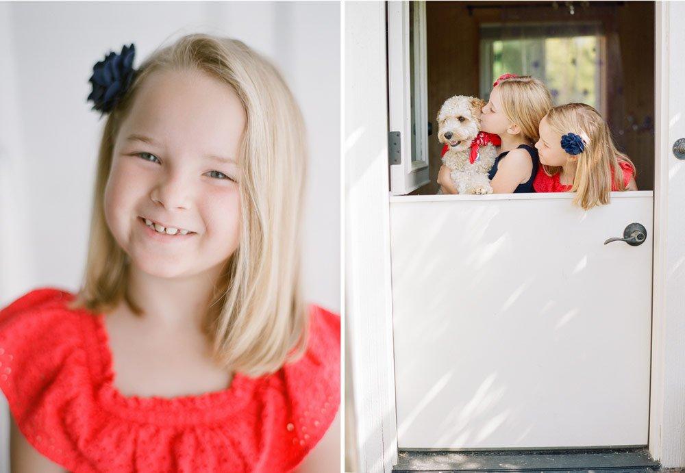 family photographers seattle : girls kissing dog