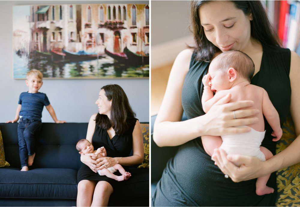 newborn photographers seattle : mom cuddling with newborn