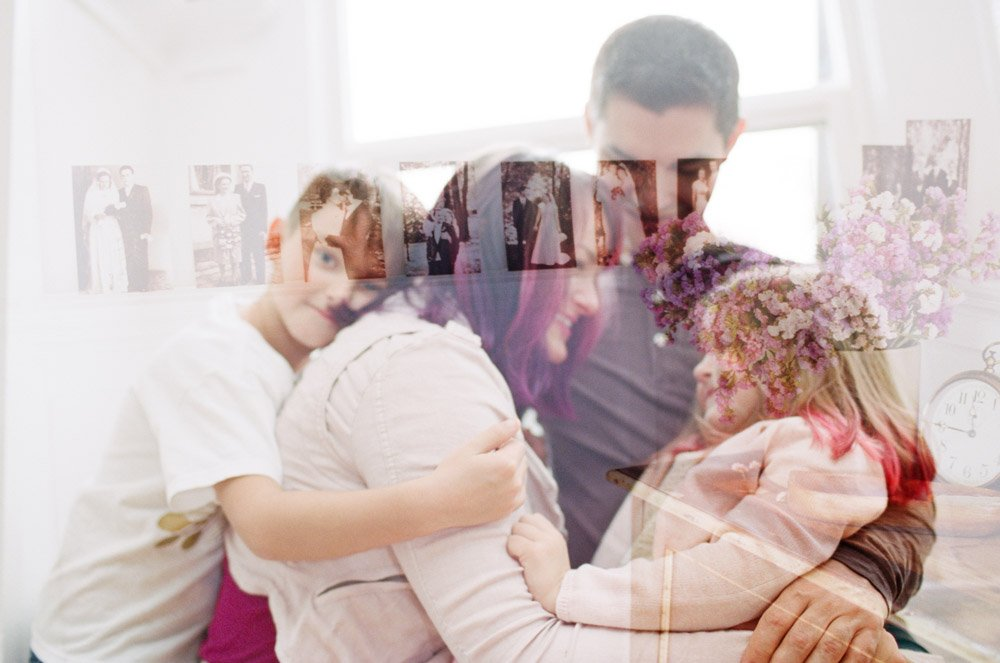 west seattle newborn and family photographer : double exposure of family