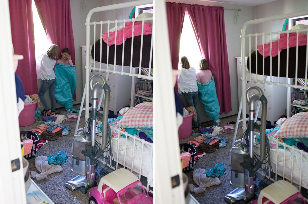 why your house doesn't have to be clean for family photos : example of messy room