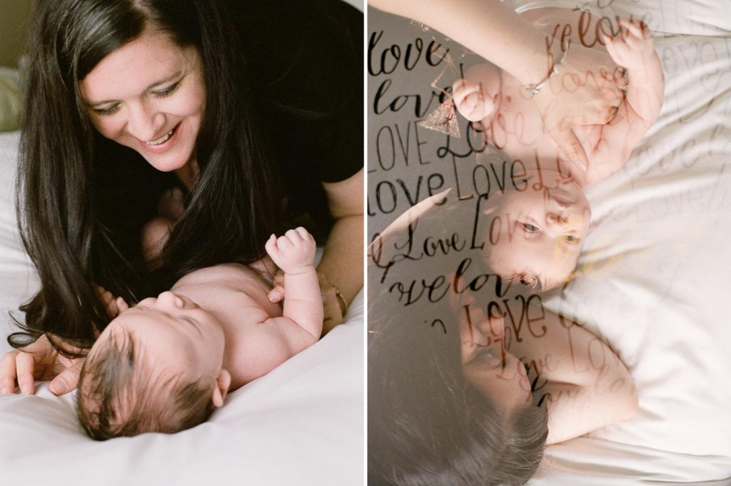 mom snuggling baby on bed and mom with baby double exposure