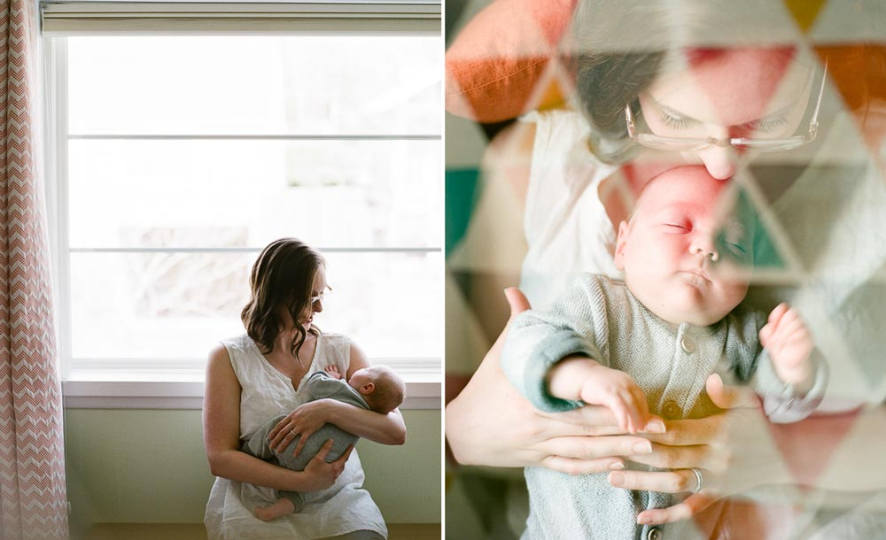 mom holding newborn in front of window and newborn double exposure