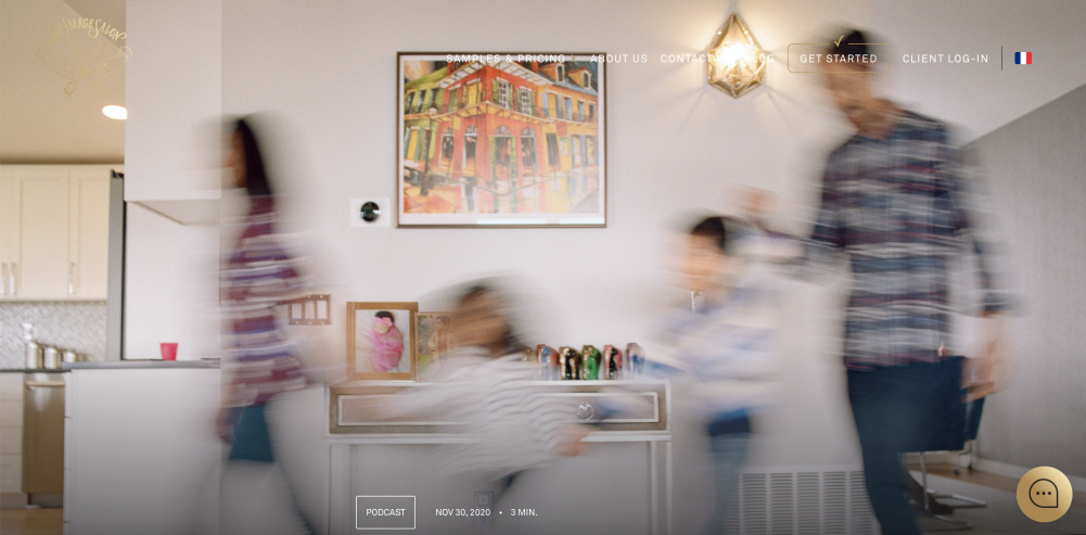motion blur of family walking in home on film photography by Kim Hildebrand